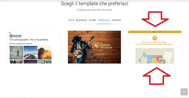 creare un sito web gratis - scelta template