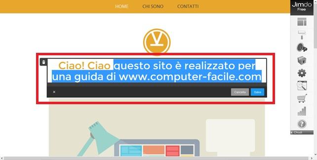 jimdo - personalizzazione sito