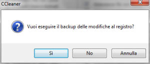 Ottimizzare e velocizzare pc - ccleaner backup registro