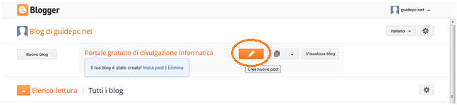 Personalizzazione del blog gratis creato con blogger di google