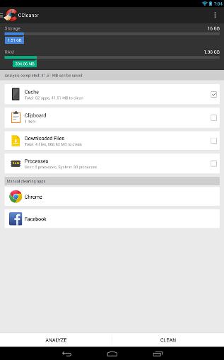 Ccleaner Android elementi da spuntare
