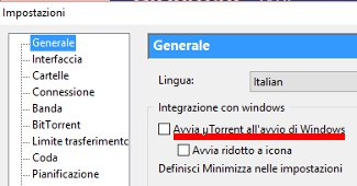disabilitare l'avvio automatico di utorrent, operazione 2