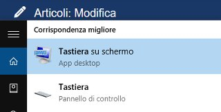 Visualizzare tastiera virtuale Windows 10