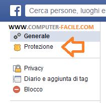 Disattivare un account facebook, passaggio 2