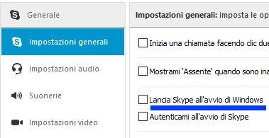 Disabilitare avvio automatico Skype