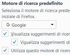 Impostare Google come motore di ricerca di Firefox - passaggio 2