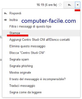 Come stampare una Mail con Gmail - screenshot