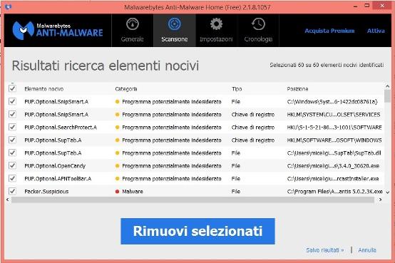 rimuovere istartsurf da windows 10 con malwarebytes