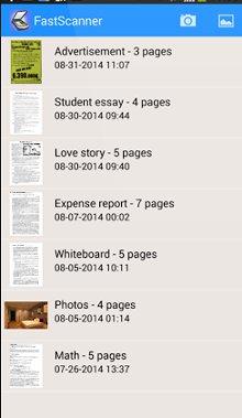 Screenshot dell'applicazione Fast Scanner, per scannerizare in pdf da Samsung