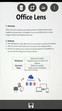 Screenshot dell'applicazione Office Lens, per scannerizare in pdf da Samsung