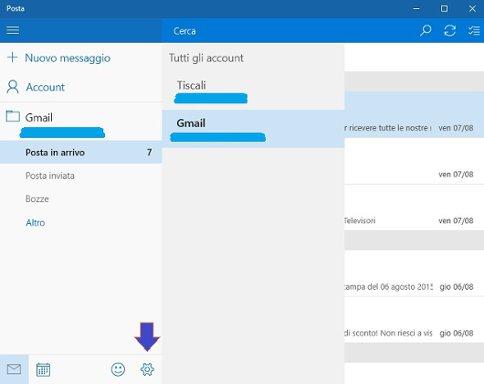 Funzionamento della App Posta di windows 10