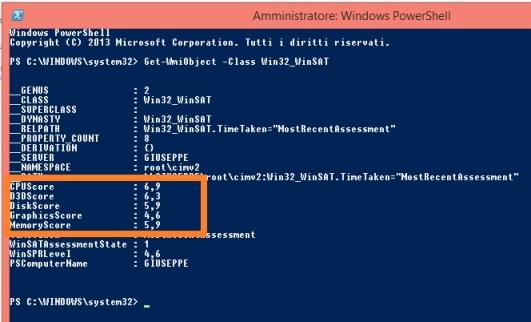 indice delle prestazioni con windows 8.1
